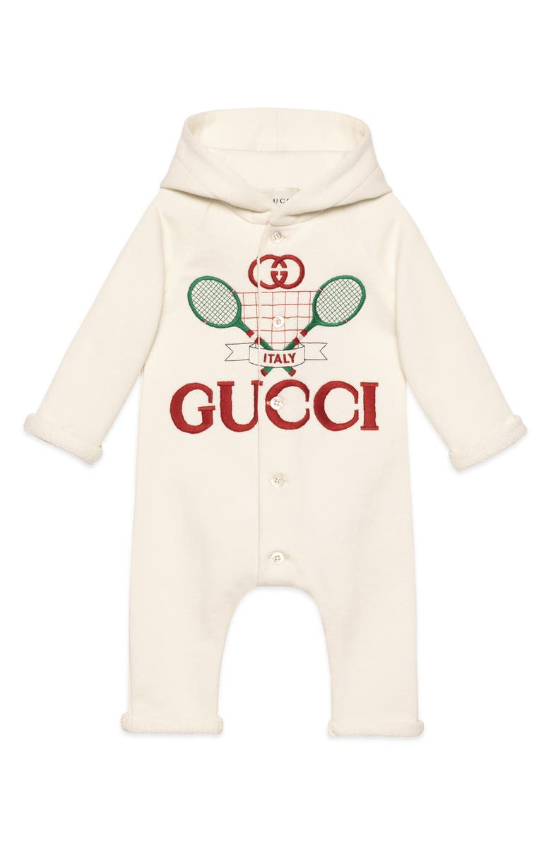 GUCCI Embroidered Logo Hooded Romper, Main, color, 142