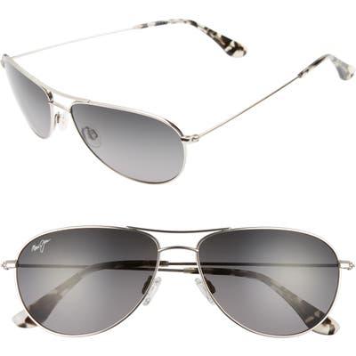 Maui Jim Sea House 60mm Polarizedplus2 Titanium Aviator Sunglasses - Silver/ Neutral Grey