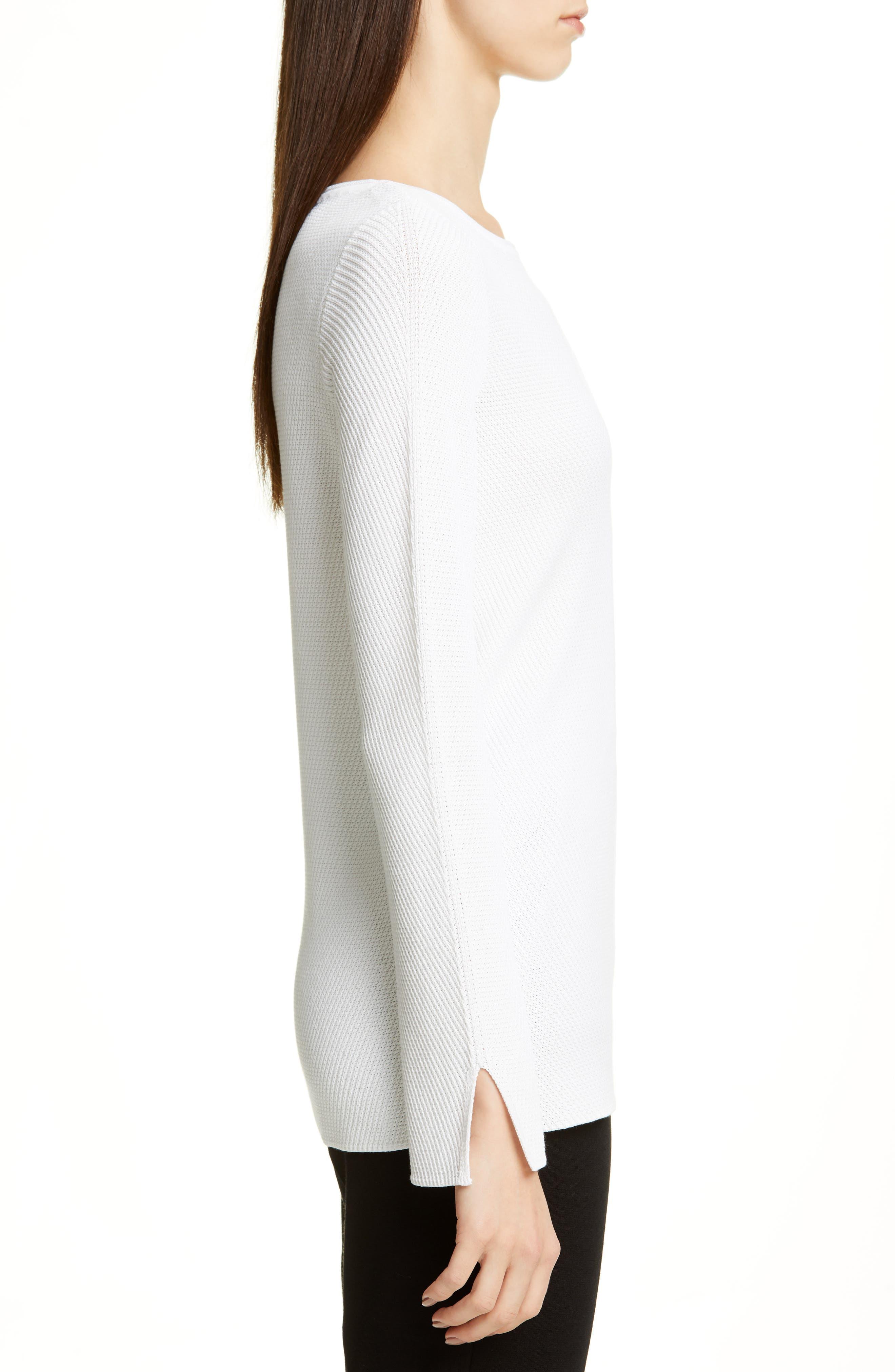 ,                             Chevron Rib Sweater,                             Alternate thumbnail 3, color,                             WHITE
