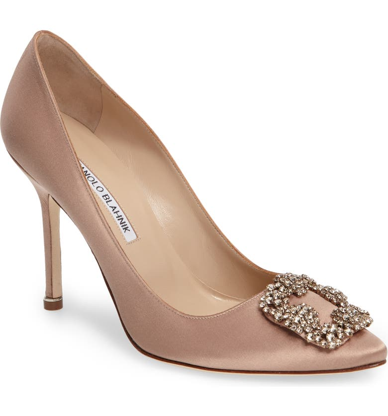 MANOLO BLAHNIK Hangisi Pointed Toe Pump, Main, color, FLESH SATIN