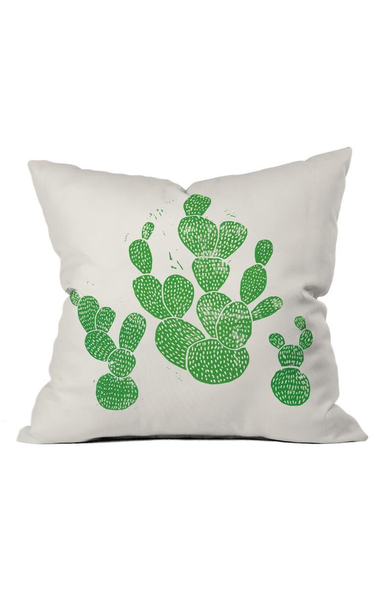 DENY DESIGNS Green Cacti Pillow, Main, color, 300