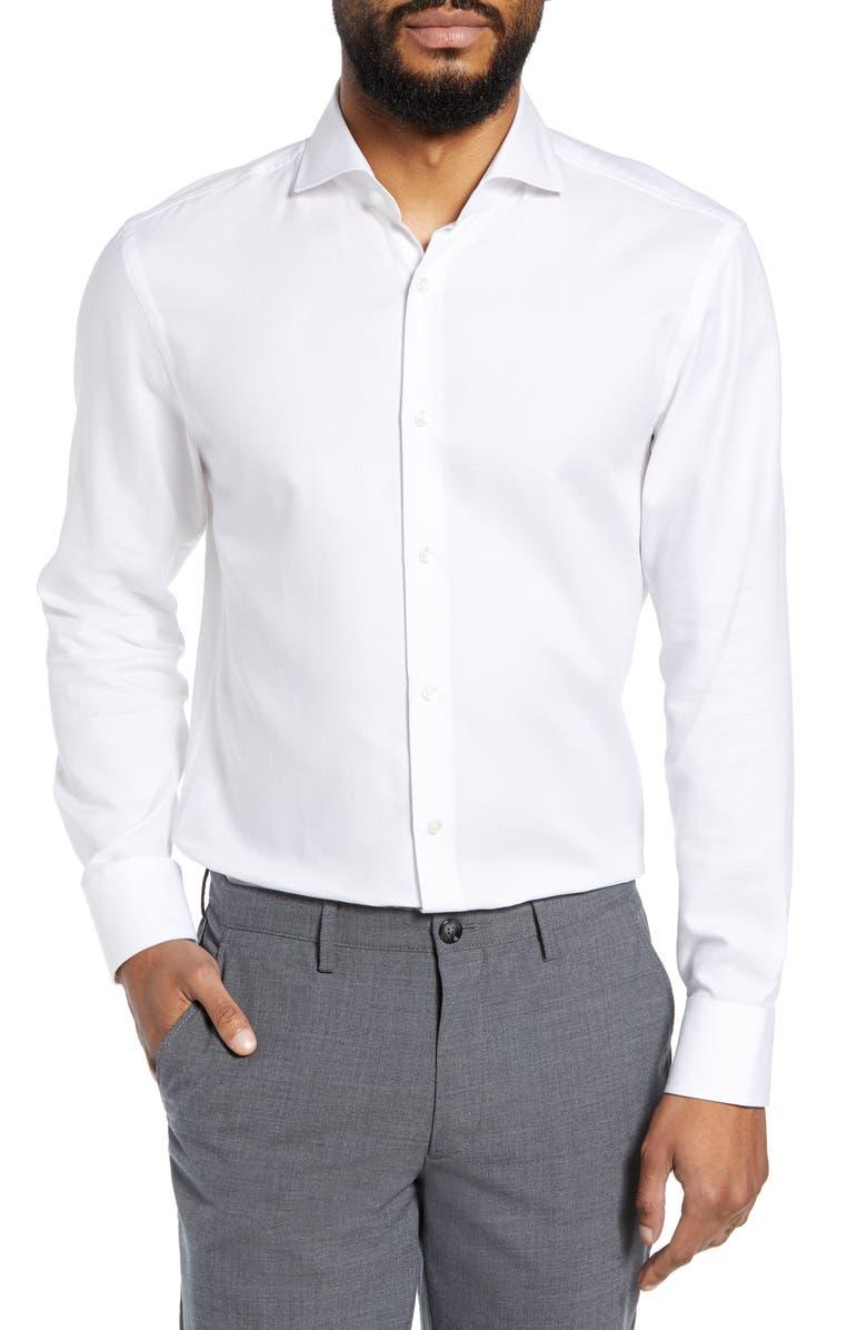 BOSS Mark Sharp Fit Dress Shirt, Main, color, WHITE