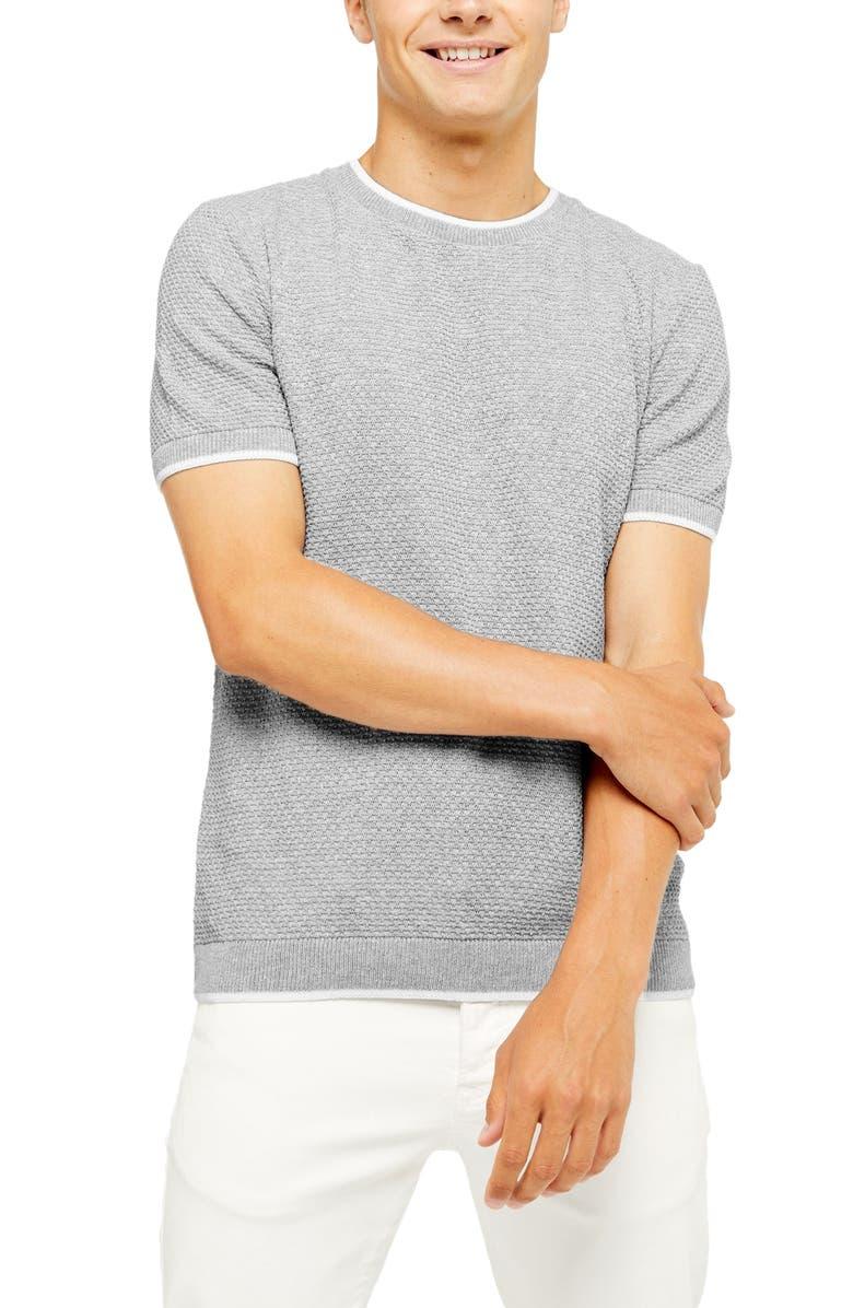 TOPMAN Textured Short Sleeve Crewneck Sweater, Main, color, GREY