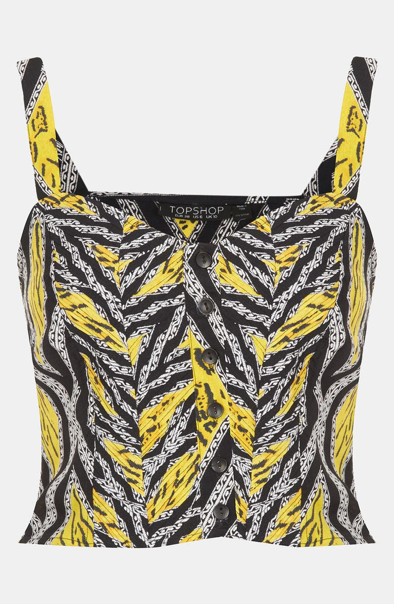 TOPSHOP 'Tiger' Print Sun Top, Main, color, 700