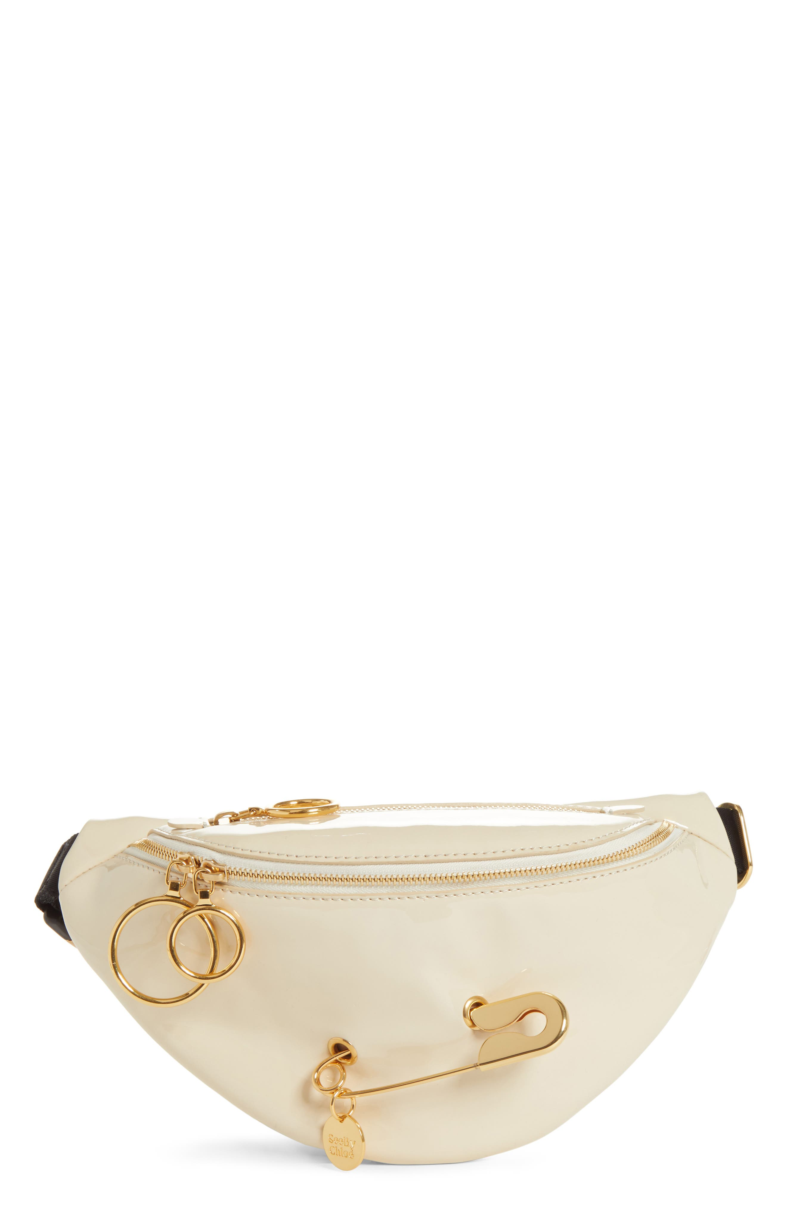 See By Chloe Mindy Patent Faux Leather Belt Bag - Ivory