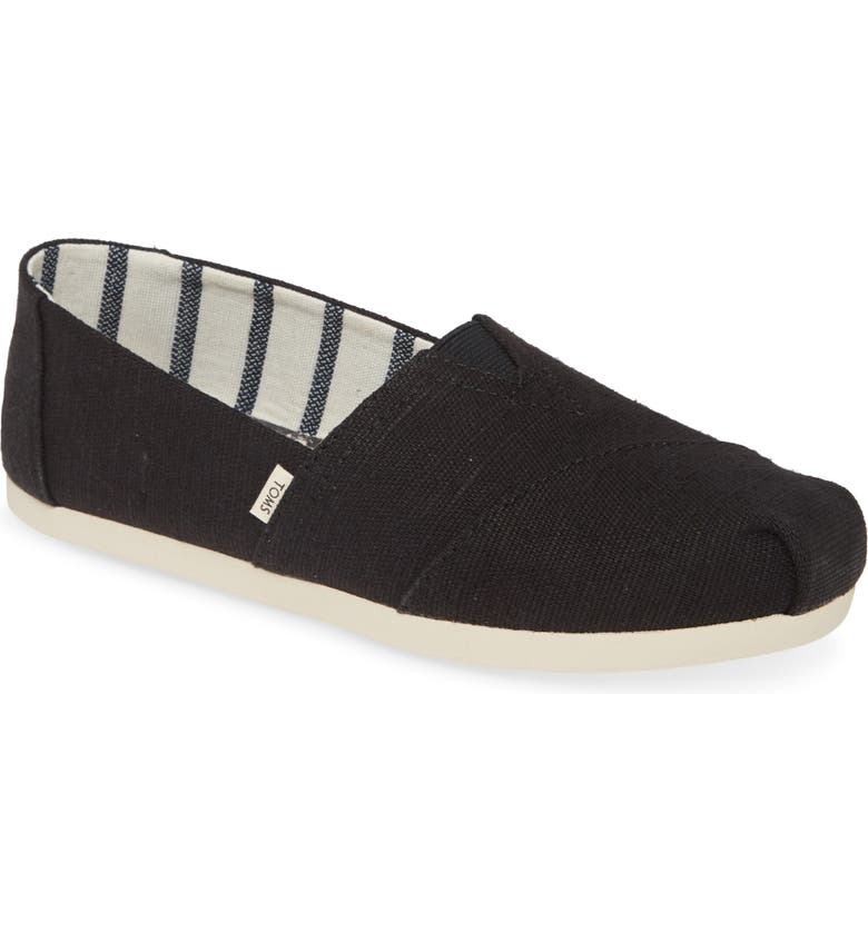 TOMS Alpargata Slip-On, Main, color, BLACK HERITAGE CANVAS