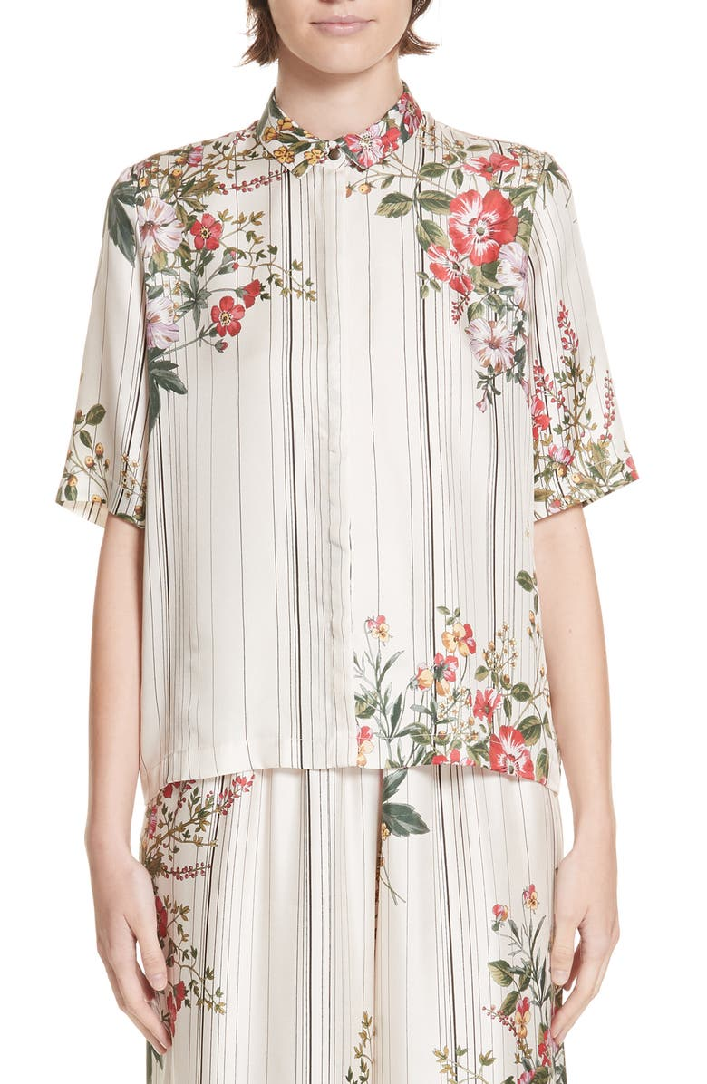 ROSEANNA Kinney Floral & Stripe Silk Shirt, Main, color, 900