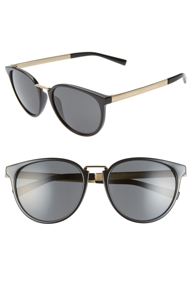 VERSACE Phantos 54mm Round Sunglasses, Main, color, BLACK/ GOLD/ BLACK SOLID