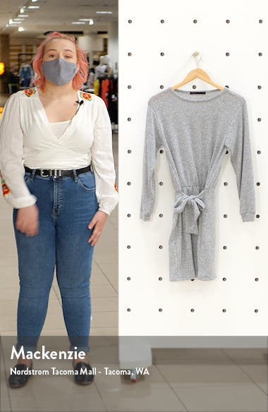 Tie Front Long Sleeve Sweater Dress, sales video thumbnail