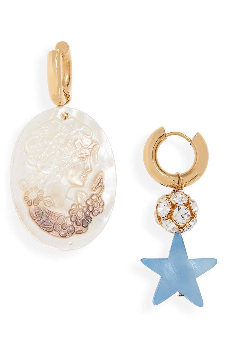 TIMELESS PEARLY Timelss Pearly Mismatched Face & Blue Star Earrings, Main, color, WHITE AND BLUE