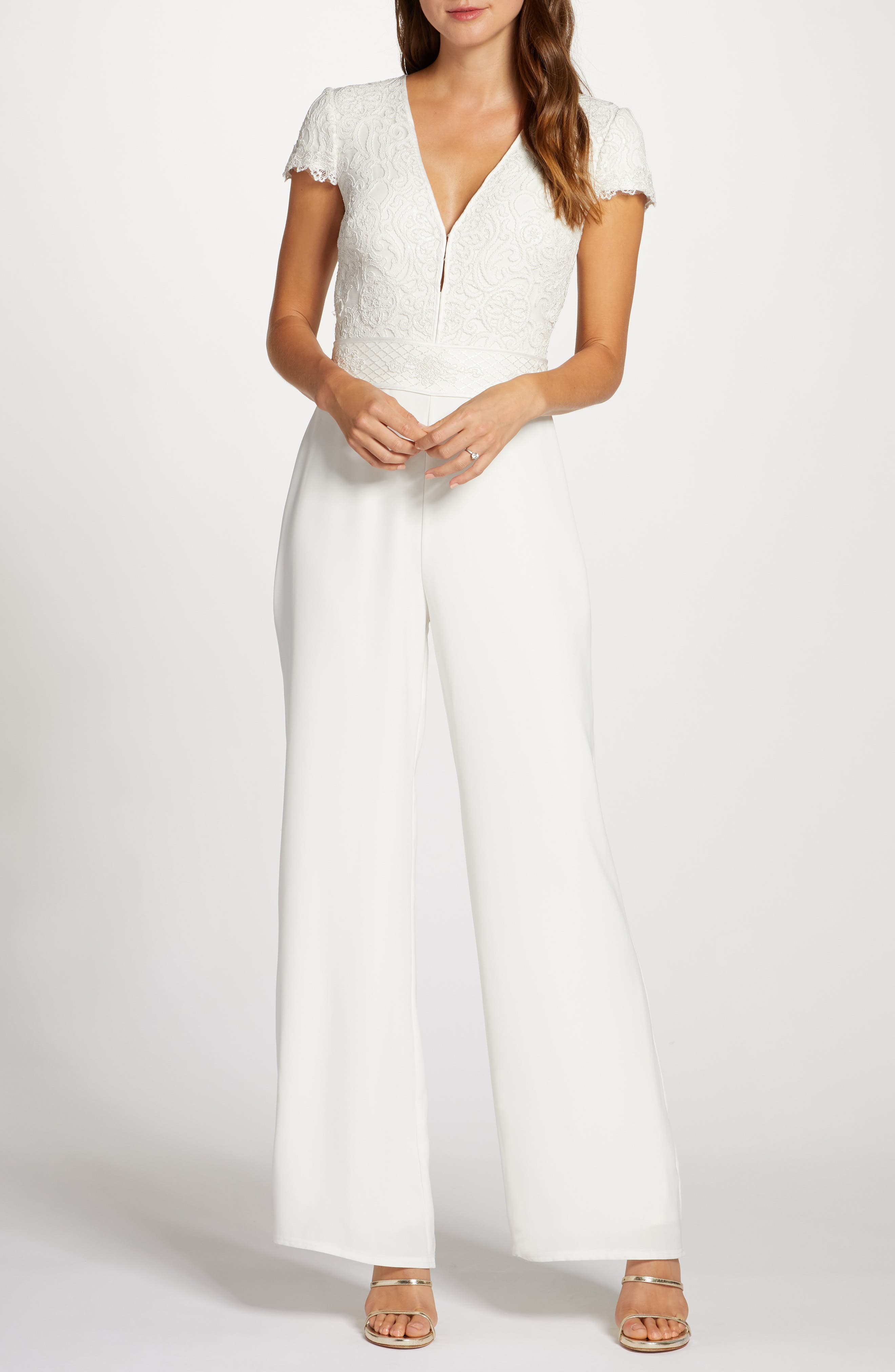 60s Wedding Dresses | 70s Wedding Dresses Womens Tadashi Shoji Lace Bodice Wide Leg Wedding Jumpsuit $498.00 AT vintagedancer.com