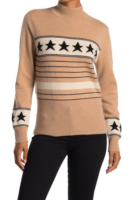 Image of Magaschoni Star Stripe Mock Neck Cashmere Sweater