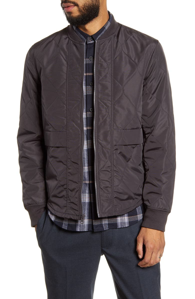CLUB MONACO Slim Fit Quilted Jacket, Main, color, DARK CHARCOAL