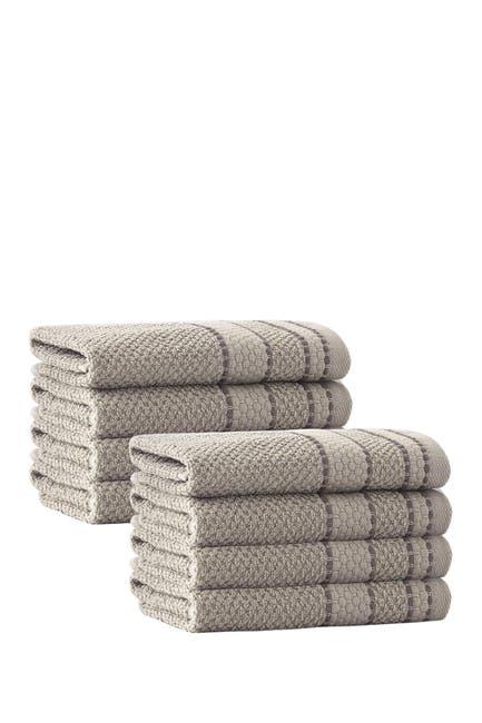 Image of ENCHANTE HOME Monroe Turkish Cotton Wash Towel - Beige - Set of 8