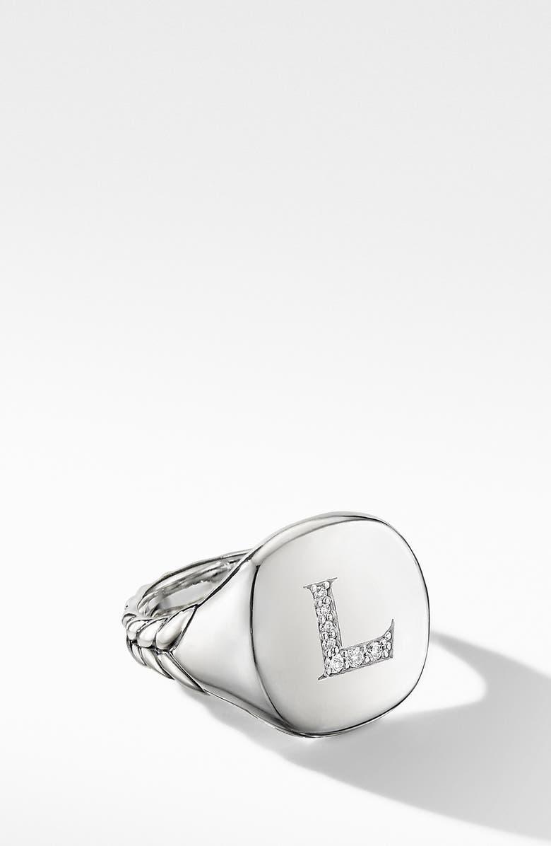 DAVID YURMAN Initial Pinky Ring, Main, color, DIAMOND-L