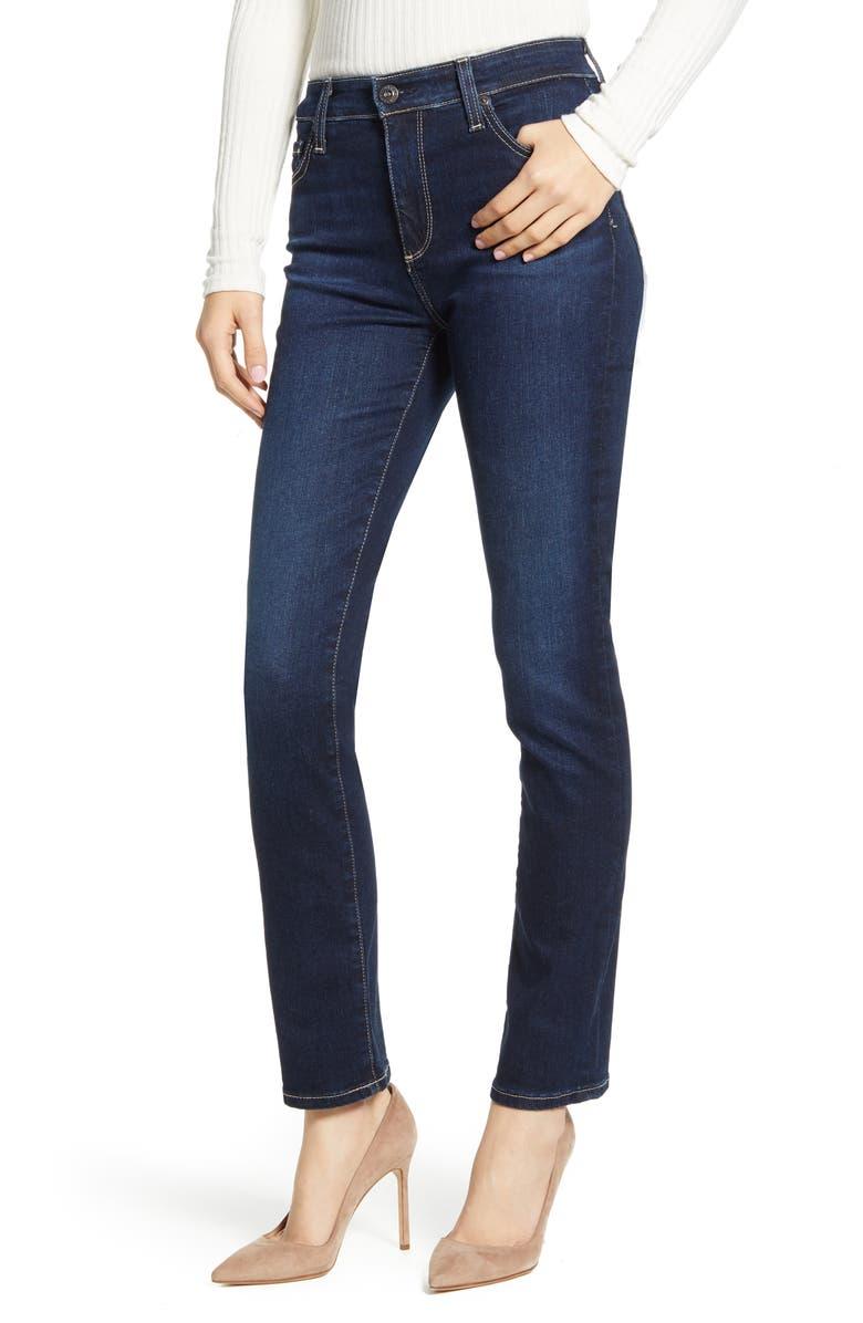 AG Mari High Waist Slim Straight Leg Jeans, Main, color, DARJEELING