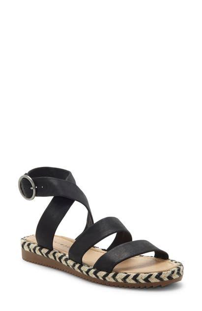 Lucky Brand Delfinne Sandal In Black Leather