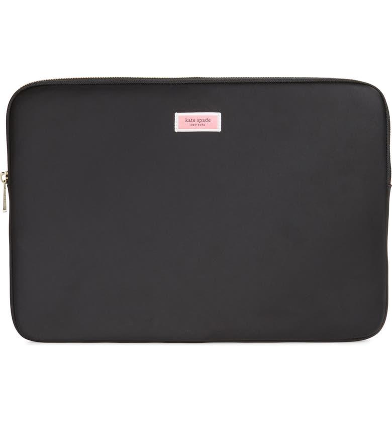 KATE SPADE NEW YORK sam heritage nylon universal laptop sleeve, Main, color, 001