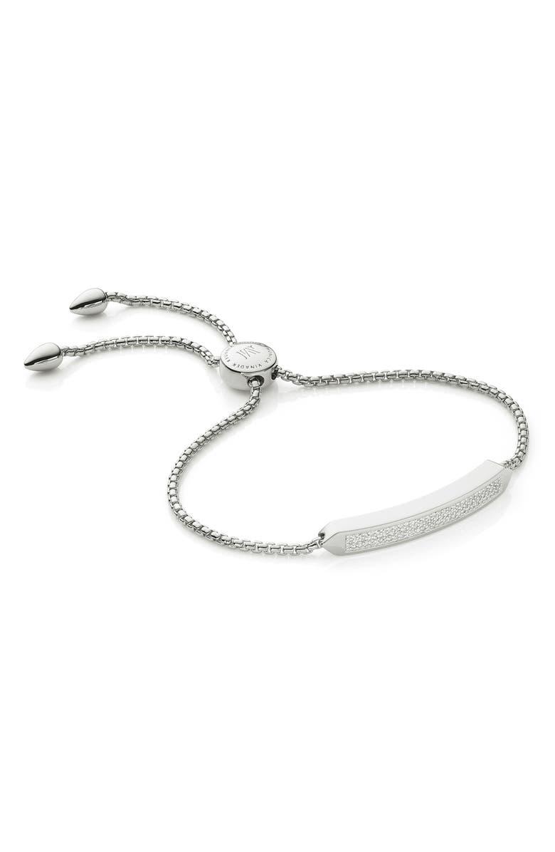 MONICA VINADER Baja Skinny Pavé Diamond Bracelet, Main, color, SILVER
