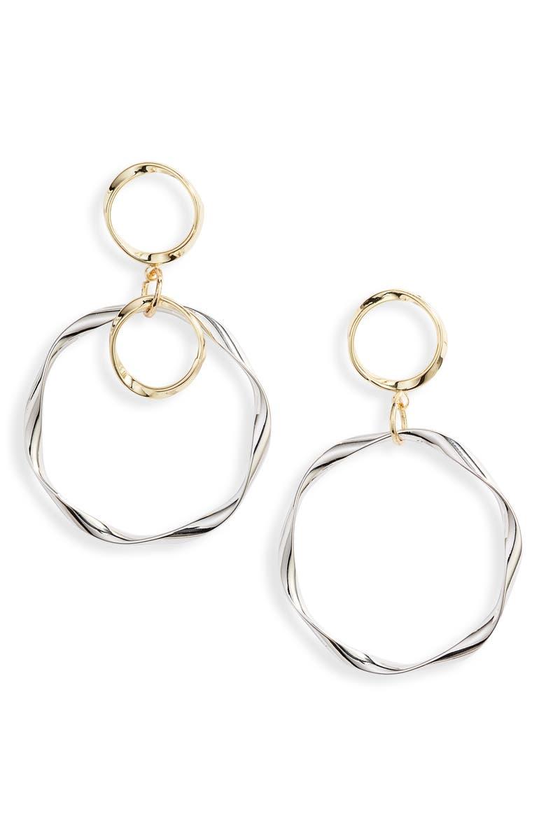 TEN79LA Ripple Hoop Drop Earrings, Main, color, 710