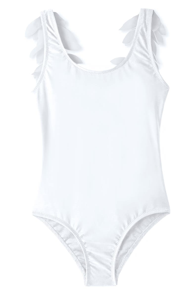 STELLA COVE Petal Trim One-Piece Swimsuit, Main, color, WHITE