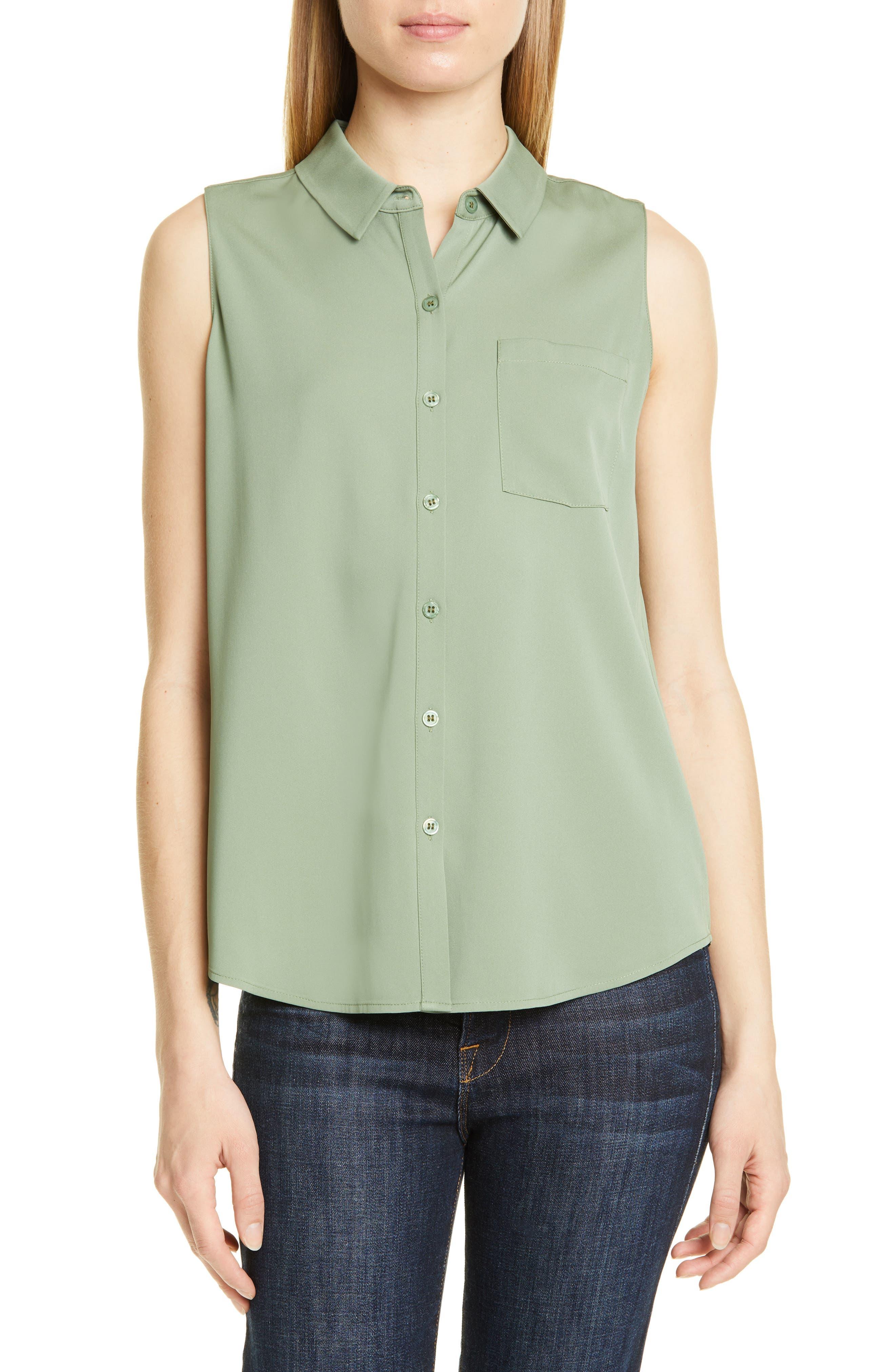 Nordstrom Signature Sleeveless Stretch Silk Shirt, Green