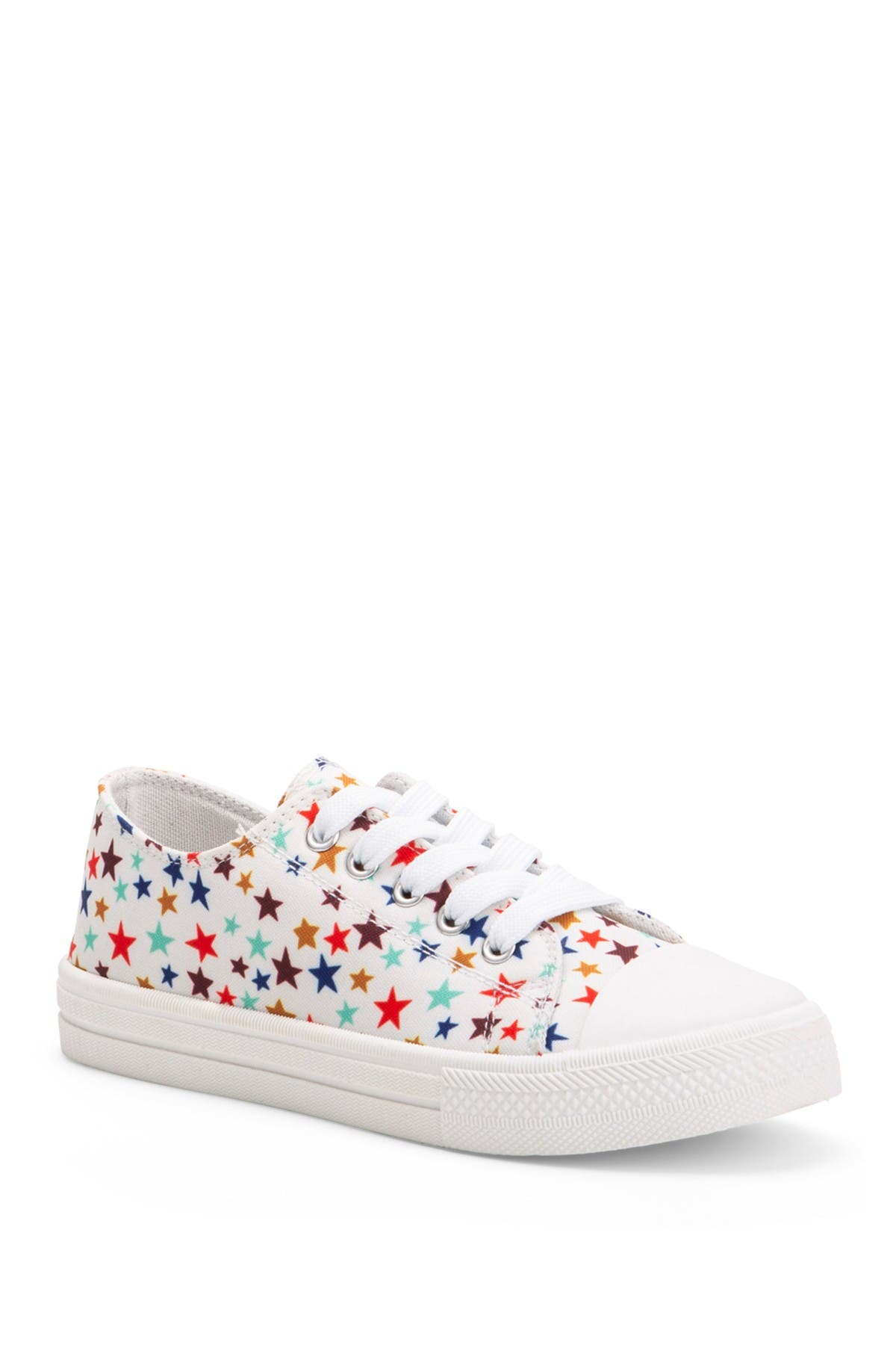 Olivia Miller Girls White and Iridescent Sneakers Hook and Loop Closure Shoes
