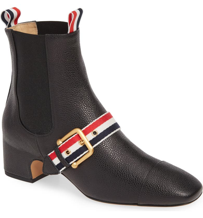 THOM BROWNE Buckle Strap Chelsea Bootie, Main, color, BLACK
