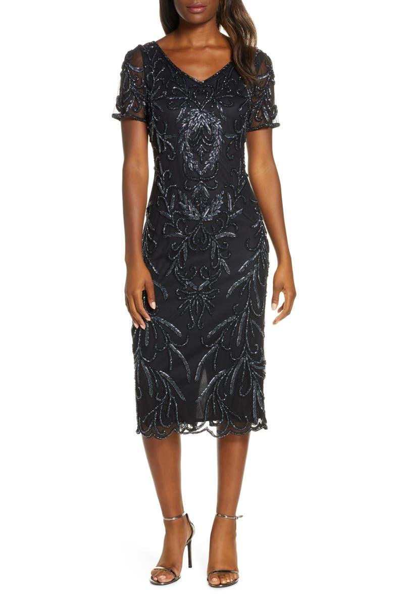 PISARRO NIGHTS Beaded Midi Dress, Main, color, BLACK