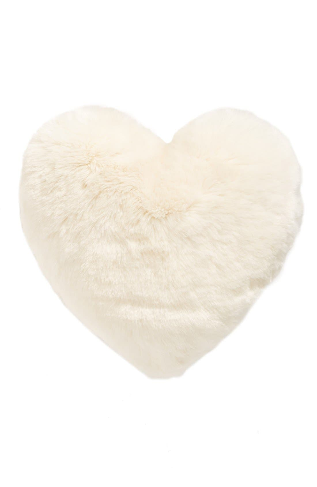 Cuddle Up Faux Fur Heart Accent Pillow, Main, color, IVORY
