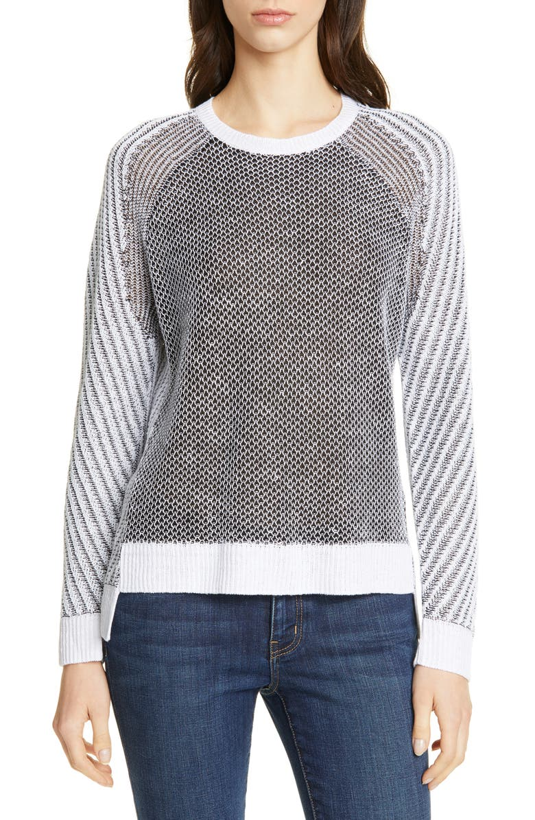 EILEEN FISHER Step Hem Linen, Cotton & Silk Sweater, Main, color, WHITE/ BLACK