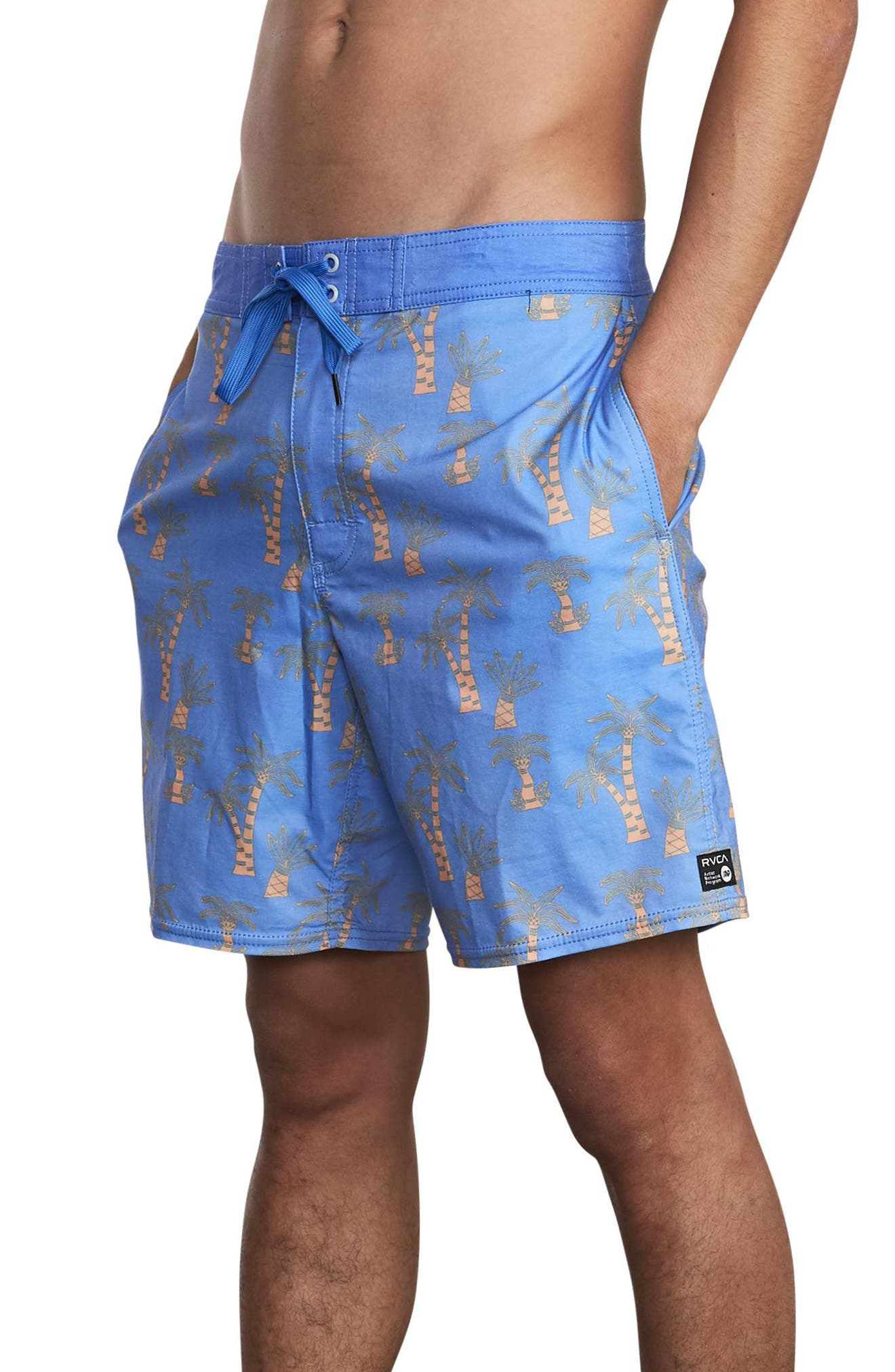 Rvca Palm Print Board Shorts, Blue