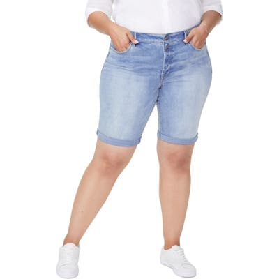 Plus Size Nydj Briella Roll Cuff Denim Bermuda Shorts, Blue