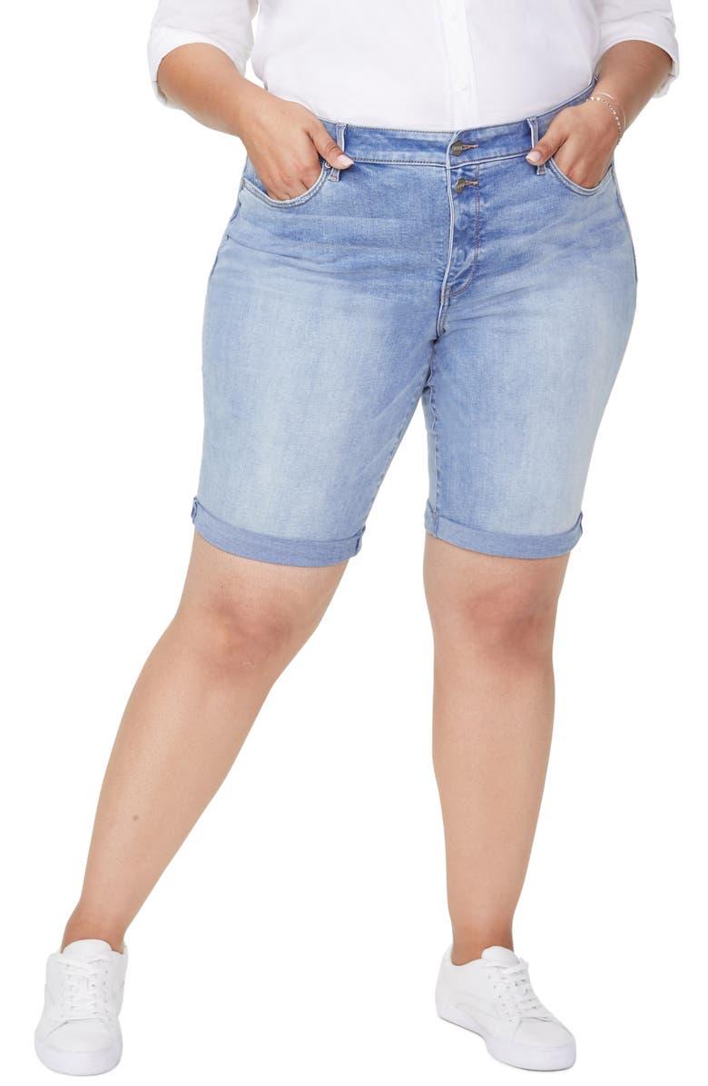 NYDJ Briella Roll Cuff Denim Bermuda Shorts, Main, color, BISCAYNE