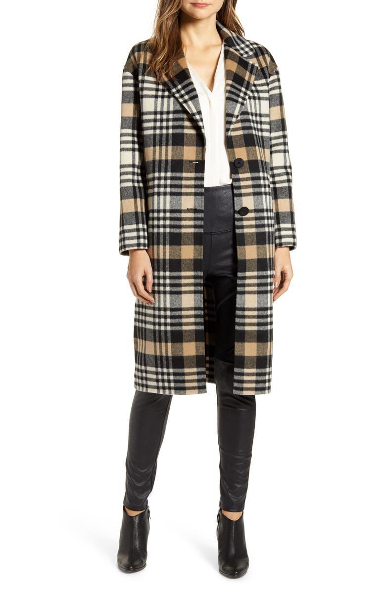 LAMARQUE Plaid Wool Blend Coat, Main, color, 200