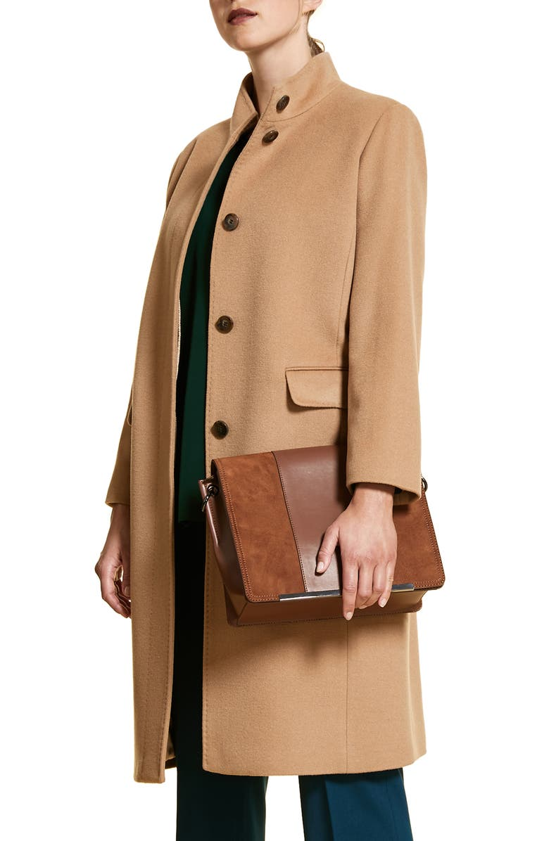 MARINA RINALDI Tifoso Funnel Collar Wool Coat, Main, color, 214