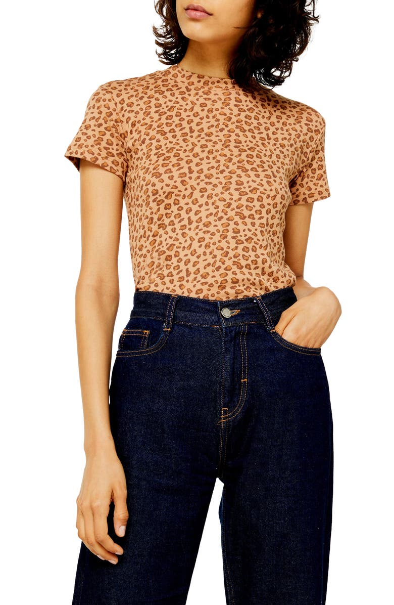 TOPSHOP Leopard Baby Tee, Main, color, TAN