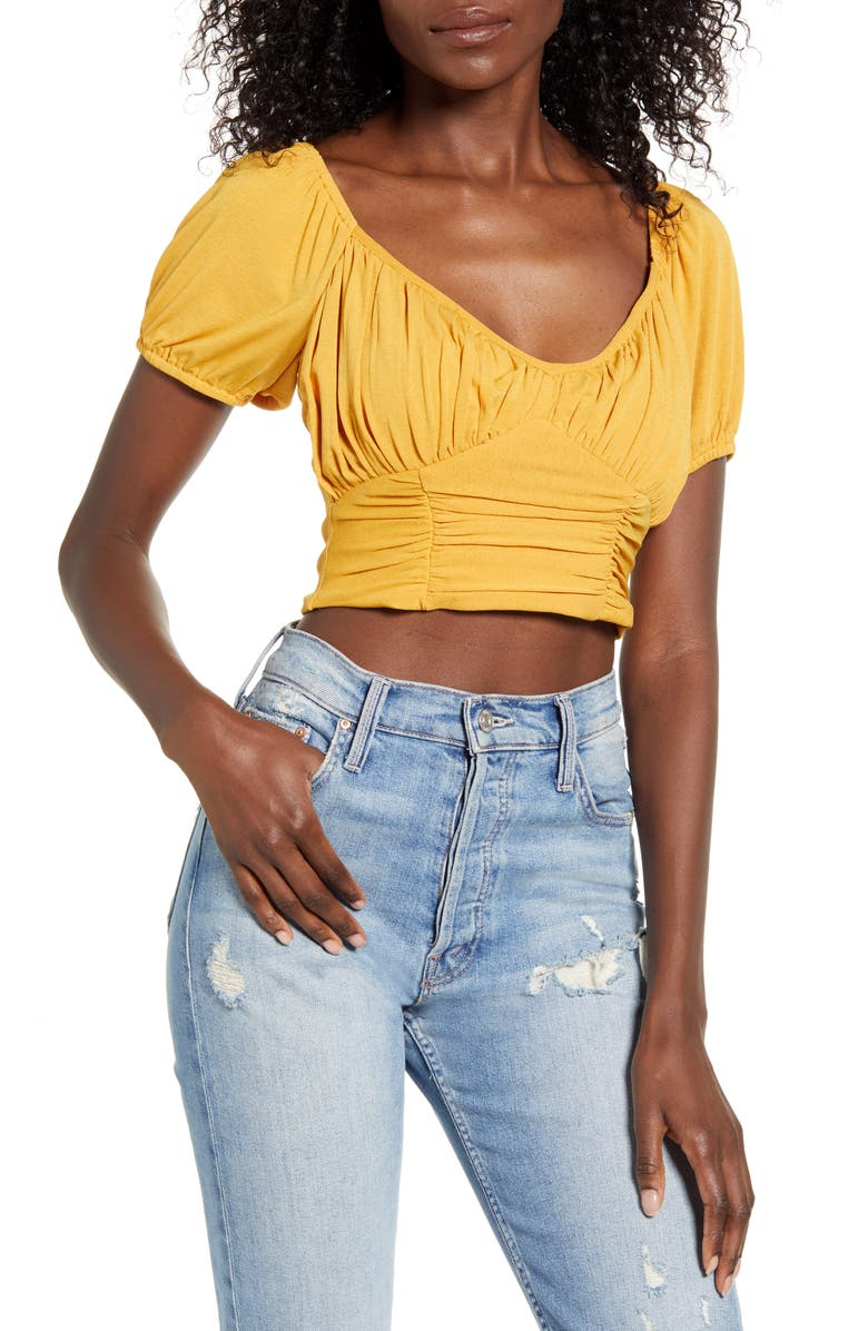 MINKPINK Cass Ruched Crop Top, Main, color, 701