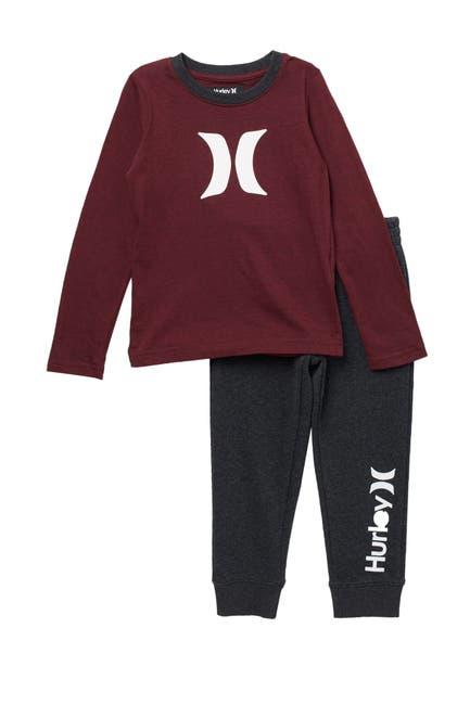 Image of Hurley Long Sleeve Icon T-Shirt & Jogger Set