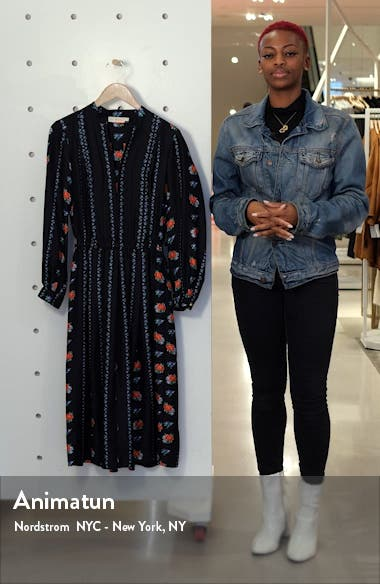 Floral Stripe Long Sleeve Silk Midi Dress, sales video thumbnail