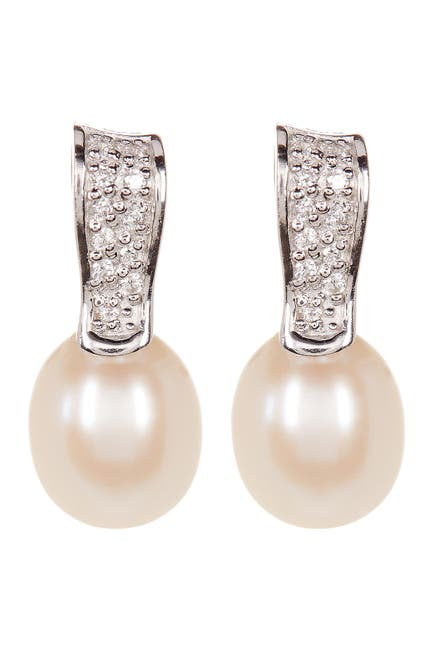 Image of Splendid Pearls Fancy CZ & 8-9mm Freshwater Pearl Earrings