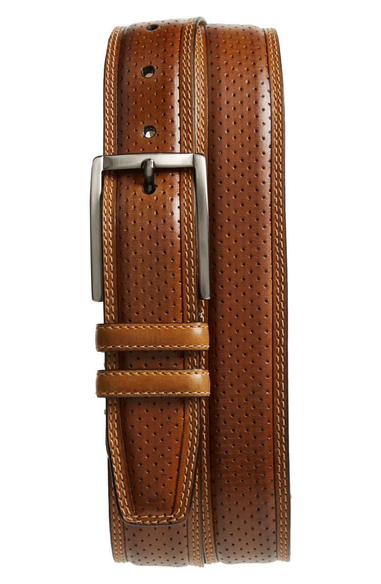 MEZLAN Alfa Perforated Leather Belt, Main, color, 200