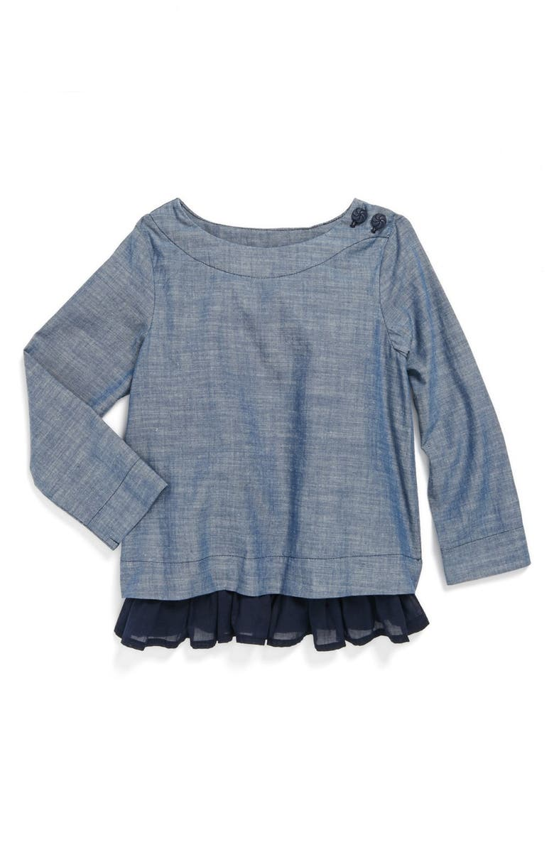 ANTHEM OF THE ANTS 'Concert' Chambray Ruffle Top, Main, color, 400