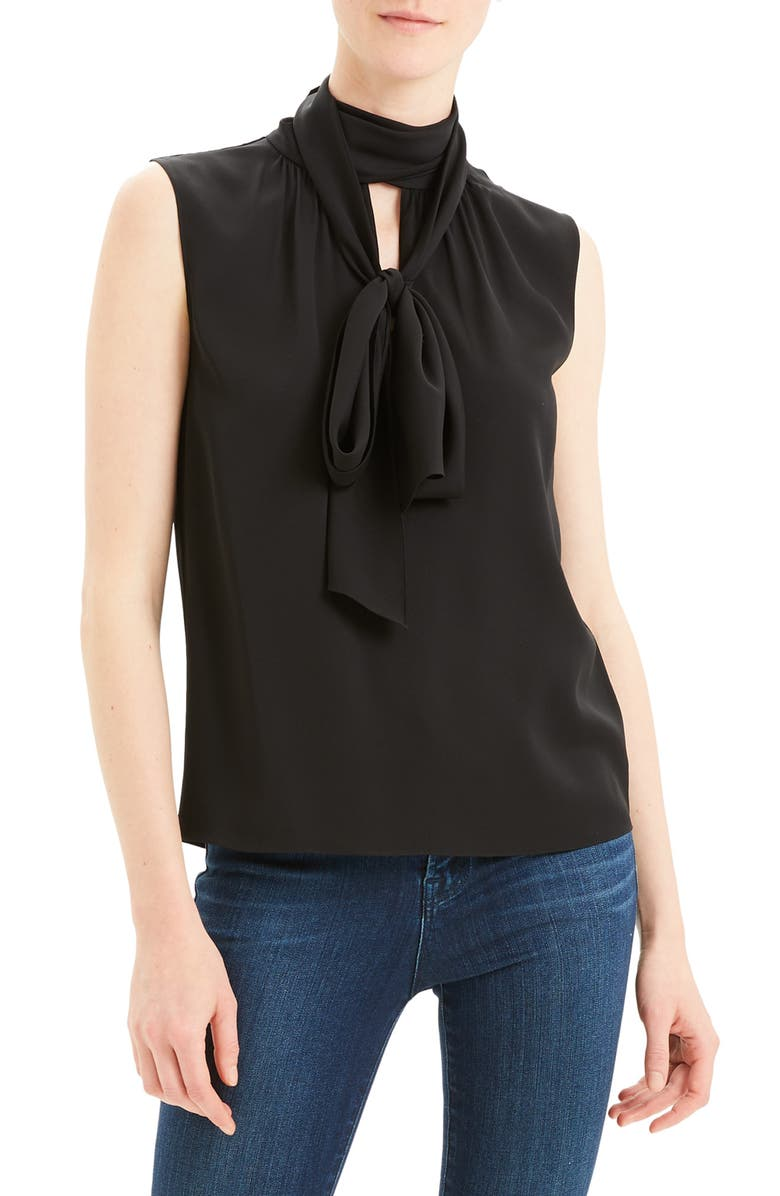 THEORY Scarf Tie Sleeveless Stretch Silk Blouse, Main, color, 001