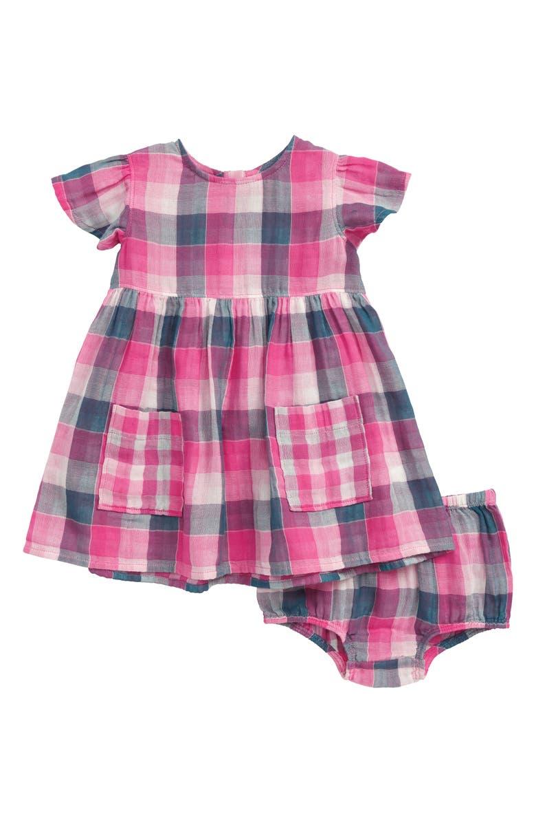 TUCKER + TATE Pretty Plaid Dress, Main, color, PINK SHOCK MULTI PLAID