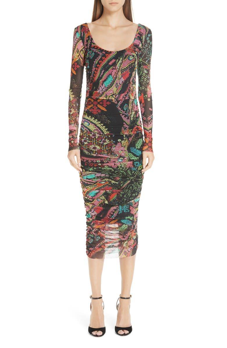 FUZZI Print Tulle Scoop Neck Dress, Main, color, 001