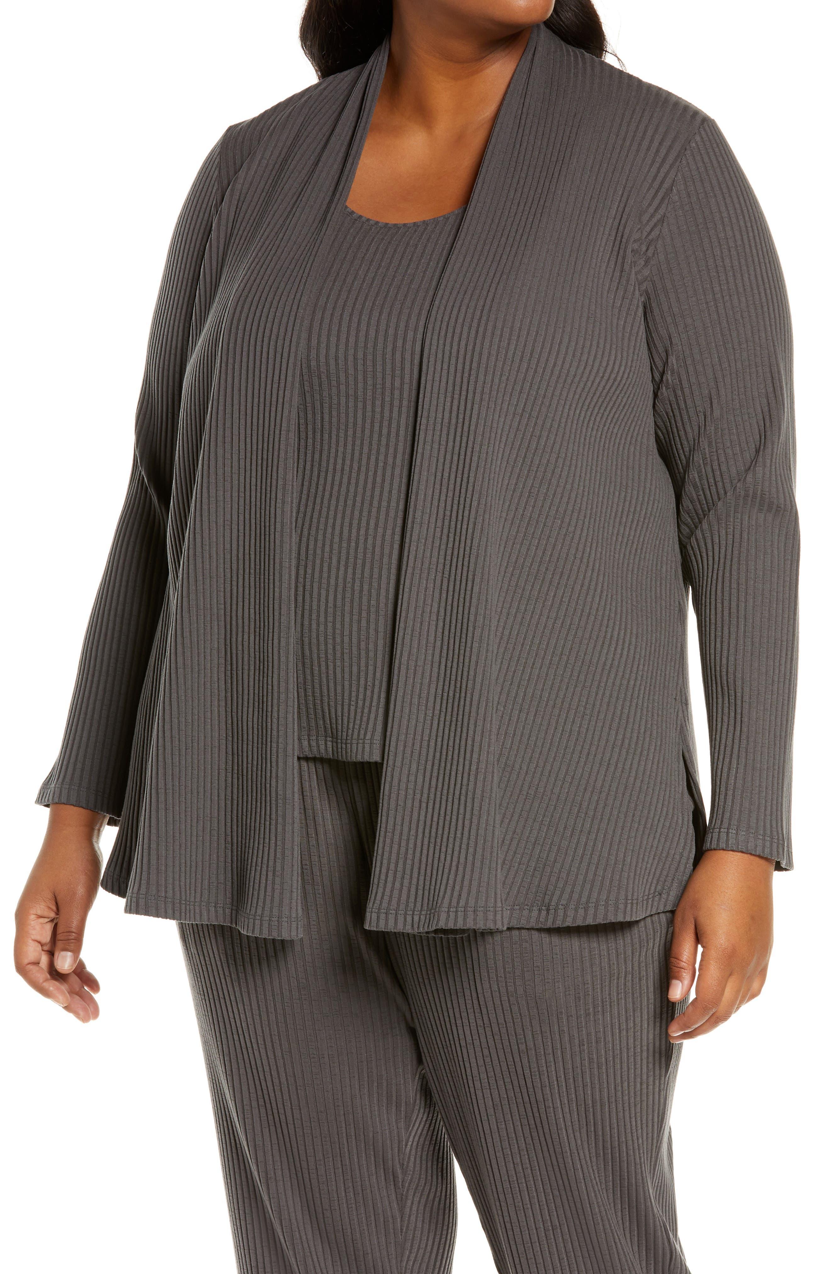 Eileen Fisher Rib Knit Jacket (Plus Size)   Nordstrom
