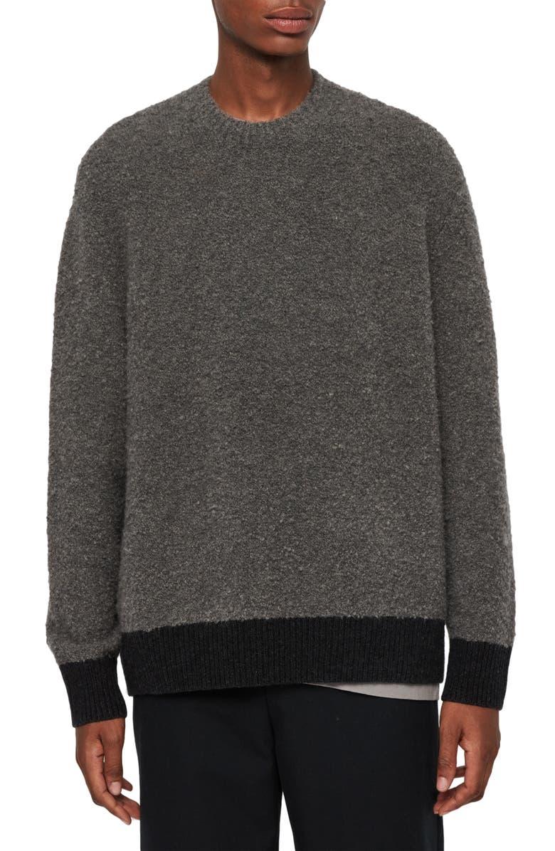 ALLSAINTS Tremett Bouclé Sweater, Main, color, CHARCOAL MARL