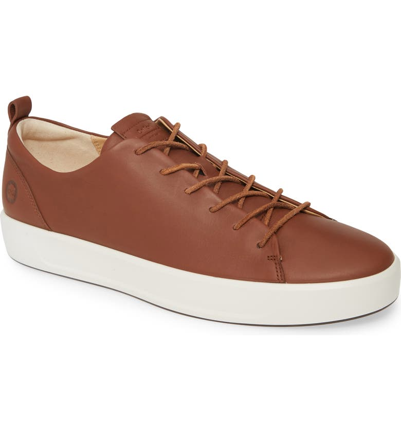 ECCO Soft VIII Sneaker, Main, color, CINNAMON BROWN LEATHER