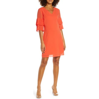 Sam Edelman Pleat Sleeve Shift Dress, Orange